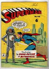 Australian SUPERMAN 110 DC Comics 1950's Superman 106 cover UK
