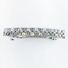 USA BARRETTE Rhinestone Crystal Hairpin Clip Vintage Elegant Simple Silver AB 01