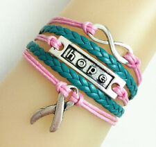 NEW Infinity/Hope/Cancer Ribbon Charms Leather Braided Bracelet - PINK/TEAL