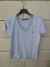 1756915e72509 T-shirt RALPH LAUREN SPORT gris rayé blanc femme taille L / G coton