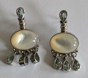 Sterling Silver Blue Topaz Mother of Pearl Dangle Earrings