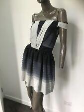 NICOLA FINETTI silk Shutter pleat Off the shoulder cocktail dress  size 10