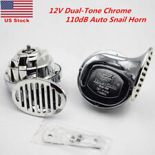 12V Electric Dual-Tone Chrome 110dB Car Truck Auto Pickup Snail Horn Siren