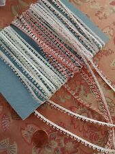 3 Tiny Antique Lace thin picoted trims 12 yards! Pink Ivory Rose