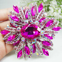 Hot Pink Oval Flower Woman Brooch Pin Rhinestone Crystal Silver Tone