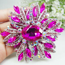 Hot Pink Oval Flower Woman Brooch Pin Rhinestone Crystal Silver Tone