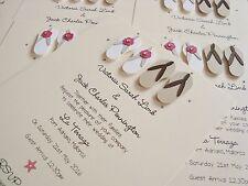 Set of 50 Personalised Handmade Flip Flops Beach Wedding Invitations