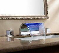 LED Waterfall Bathroom Deck Mount Mixer Spout 2 Handle Basin Sink Faucet Tub Tap