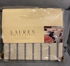 RALPH LAUREN Villa Martine Bar Stripe Blue/Cream  Twin Flat Sheet New