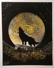 spray paint art, howling wolf, 11×14 signed