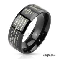 Stainless Steel Black IP Lord's Prayer & Cross Beveled Edge Ring Band Size 5-13