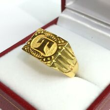 24K Solid Pure Gold Initial T Style Ring 7.43 Grams. Size 9