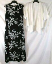 New Denim & Co. Sheath Maxi Dress Jacket V Neck Black Floral Medium Women CB49J