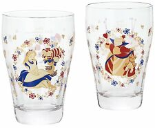 Disney Alice in Wonderland glass cup pair set with Box Cheshire Cat Queen Japan