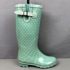 WELLYGOGS Ladies Wellington Rubber Green White Boots EU37 UK4