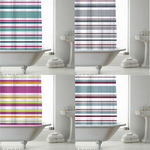 SHOWER BATHROOM CURTAIN WITH RING HOOKS 180 X 180 CM STRIPE MODERN DESIGN PEVA