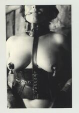 Chubby Female Slave 2: Leather Corset - Collar - Nipple Clamps (Vintage Photo 19