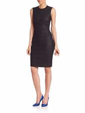 SZ 8 Diane Von Furstenberg Glennie Black Metallic Ruched Dress NWT $398