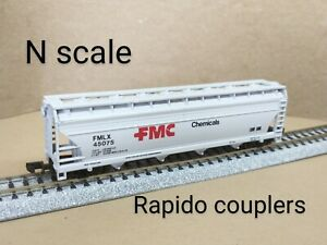 FMC Chemicals FMLX 4 bay covered hopper car N scale Atlas gray refinery plastic