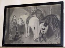 Victorian English Horse Barn Shoeman Shoe Man Charcoal Drawing Framed 25 3/4 18