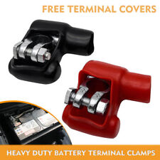 BATTERY TERMINAL HEAVY DUTY - 2PC RED & BLACK MARINE TYPE LEAD BATTERY CLAMPS
