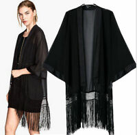 New Vintage Retro Boho Hippie Casual Chiffon Top Kimono Coat Cape Blazer Jacket