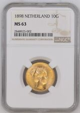1898 Netherlands 10 gulden gold coin, NGC MS-63. Scarce one year type.