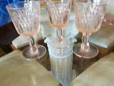 3 Pink Jeanette Glass Company Anniversary Cordials