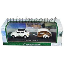 CARARAMA 14811 VW VOLKSWAGEN BEETLE #53 with CARAVAN III TRAILER 1/43 WHITE
