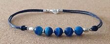 Blue STRIPE AGATE Beads, Blue Leather Cord, Silver Plated Friendship Bracelet