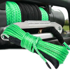 """1/4"""" x 50' Synthetic Winch Rope Line Recovery Cable 10000LB 4WD SUV Pickup Green"""