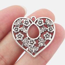10 x Open Heart Flower Filigree Tibetan Silver Charms Pendants Beads 31x32mm