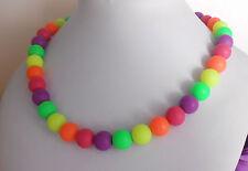 Leuchtende Neon Halskette runde Perlen 10 mm Gelb Grün Orange Lila Pink