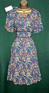 New MONSOON UK 8 Blue Multi Floral Ditsy NATASHA Summer Shift Tea Dress RARE!