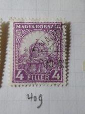 HONGRIE 1928, timbre CLASSIQUE 409, COURONNE, oblitéré, VF CANCEL STAMP