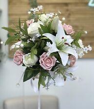 Wedding Flower Bouquet, Vintage Rose, Lily Display, Bride, Bridesmaid, Bridal