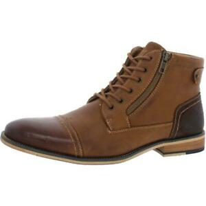 Steve Madden Mens Jestir Leather Cap Toe Ankle Oxford Boots Shoes BHFO 6302