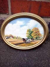 Working the Field With Horses Oil Painting on Painter's Board in Good Condition