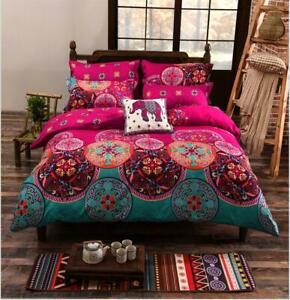 Gift BOHO Bohemian Ethnic Mandala Flower Bedding Set Duvet Cover Double King