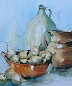20th C Still Life Watercolour. Fruit, Bowls, Jug. Signed