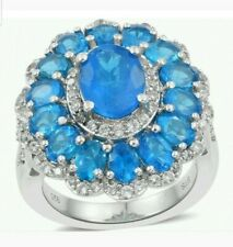 Genuine Malgache Neon Apatite Rare Natural Blue Ring (Sz 6) 4.67cts.