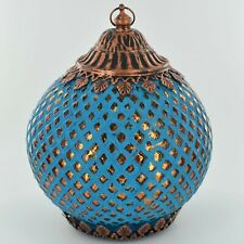 Moroccan Style Blue Patterned Glass LED Lantern Home Decor Lamps 24428
