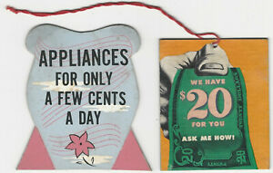 1940s Retail Store Counter Cards for Appliances on Credit & Store Promotions