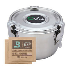 CVault Large Humidity Control Airtight Metal Container with Boveda Humidipack