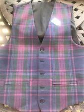 Mens Purple Tartan Waistcoat Size 40 Made In Scotland