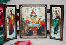 ORTHODOX Triptych ICON The Mother of God of the Life-giving Spring Sts Arсhangel