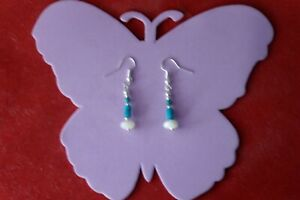 BEAUTIFUL EARRINGS WITH M.O.P & TURQUOISE BEADS 2 GR. 2.6 CM. LONG + HOOKS