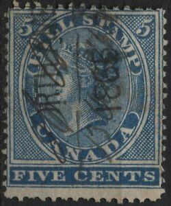 Canada Revenue VanDam #FB5 - 5c blue bill stamp perf 12.5X13.5 used  (1864)