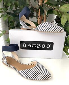 Bamboo White & Navy Stripe Ankle Stripe Textile Sandal Size 6.5