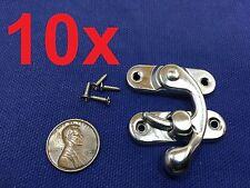 10 Sets Silver Tone Metal Hook Box Latches Clasp Box Lock Purse Lock 4 Holes c10